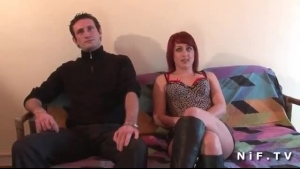Big tits redhead is getting banged on the sofa during a relaxing massage session, on her sofa